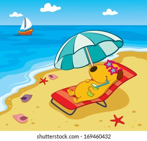 Cartoon Dog on the Beach