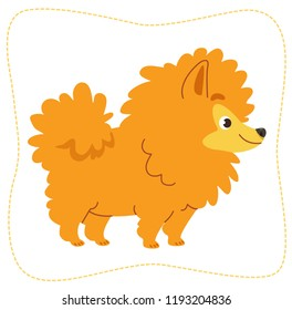 Cartoon dog: pomeranian Spitz. Vector illustration. Isolated on white background.