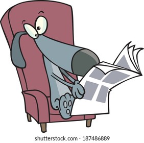cartoon dog reading the newspaper