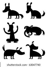 Cartoon Dog Silhouette - vector