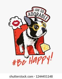 cartoon dog with slogan and icon illustration