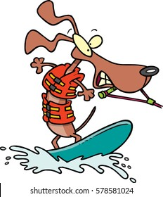 cartoon dog water skiing