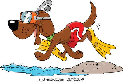 Cartoon dog wearing a snorkel and swimsuit ready for vacation vector illustration
