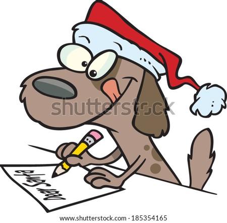 Cartoon Dog Writing Letter Santa Stock Vector Royalty Free
