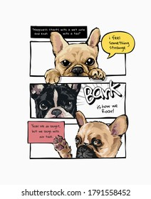 cartoon dogs in comic panel style illustration