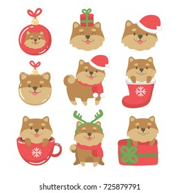 Cartoon dogs cute christmas illustrations.