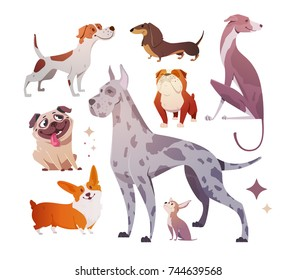 Cartoon dogs of different breeds and sizes. Funny beasts on a white background. The dog is a symbol of 2018. Vector illustration.