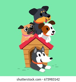 Cartoon dogs with kennel