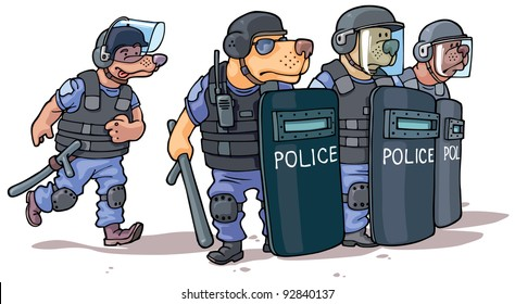 Cartoon dogs in the police uniform are standing behind the riot shields.