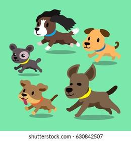 Cartoon dogs running set