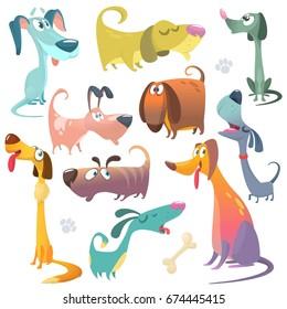 Cartoon dogs set. Vector illustrations of dogs icons. Retriever, dachshund, terrier, pitbull, spaniel, bulldog, basset hound, afghan hound. Design for logo, poster, mascot or children book