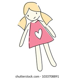 A cartoon doll of a girl. Drawing toys for children. Logo.