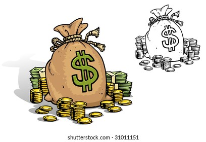 Cartoon Dollar bag