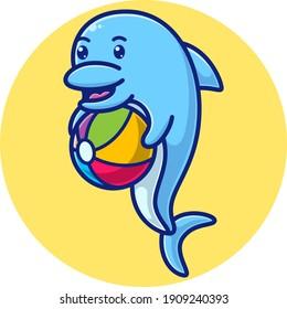 cartoon dolphin carrying a ball