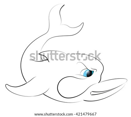 Cartoon Dolphin Coloring Book Stock Vector (Royalty Free) 421479667 ...