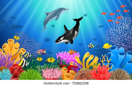 Cartoon dolphin with killer whale Coral Reef Underwater in Ocean. Vector illustration