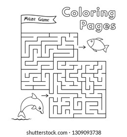 Cartoon dolphin maze game. Vector coloring book pages for children