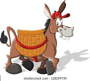Cartoon donkey carrying a large basket