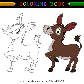 Cartoon donkey coloring book
