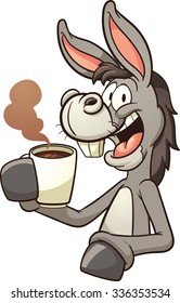 Cartoon donkey drinking coffee. Vector clip art illustration with simple gradients. Donkey and coffee steam on separate layers.