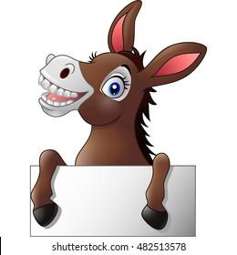 Cartoon donkey holding blank sign