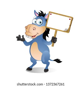 Cartoon Donkey holding a Wooden Blank Sign