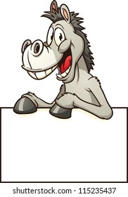Cartoon donkey with sign. Vector clip art illustration with simple gradients. All in a single layer.