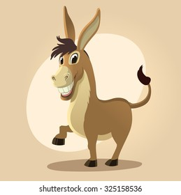 cartoon donkey smile and happy. Cartoon style
