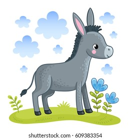 Cartoon donkey is standing in a clearing. Vector background with a  farm animal.