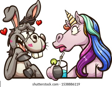 Cartoon donkey and unicorn on a date clip art. Vector illustration with simple gradients. Each on a separate layer.