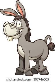 Cartoon donkey. Vector clip art illustration with simple gradients. All in a single layer.