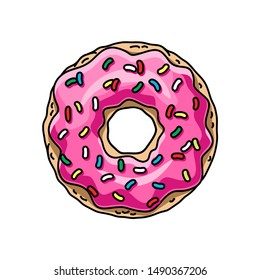 cartoon donut with pink glaze. vector illustration