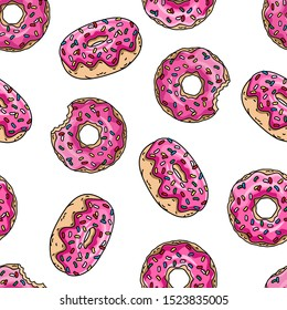 Cartoon donuts with pink glaze and colored sprinkles on white background. Seamless pattern. Texture for fabric, wrapping, wallpaper. Decorative print.