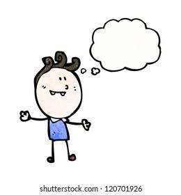 cartoon doodle boy imagining