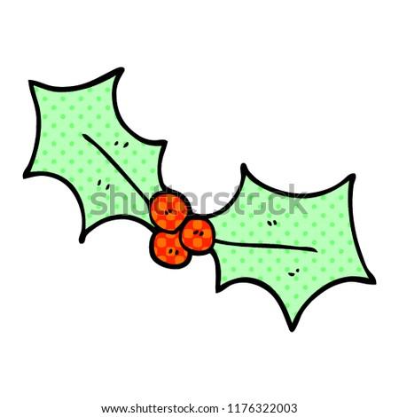 Christmas Holly Cartoon.Cartoon Doodle Christmas Holly Stock Vector Royalty Free