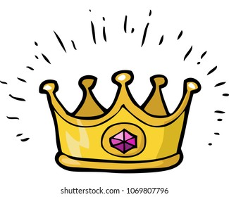 Cartoon doodle crown on a white background vector illustration