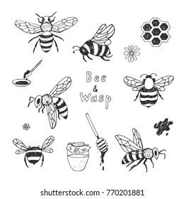 Cartoon doodle cute bees vector seamless pattern