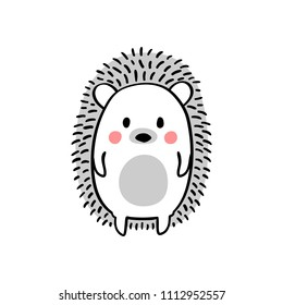 Cartoon doodle cute hedgehog - isolated vector illustration