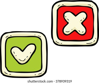 Cartoon doodle delete and check button vector illustration