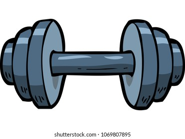 Cartoon doodle dumbbell on a white background vector illustration