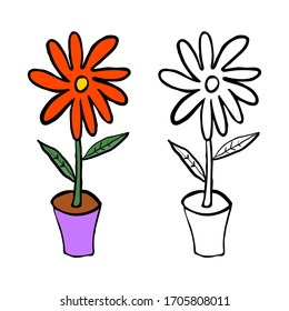 Cartoon doodle flower with leaves in pot isolated on white background. Vector illustration.