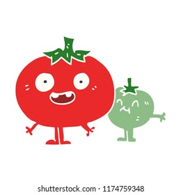 cartoon doodle happy tomatoes