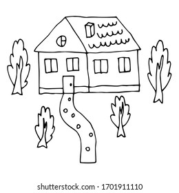 Cartoon doodle house and garden with trees isolated on white background.  Childlike style home. Vector illustration.