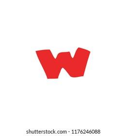 cartoon doodle letter w