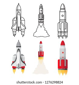 Cartoon and doodle line space rockets set vector illustration. Rocket spacecraft, ship and spaceship