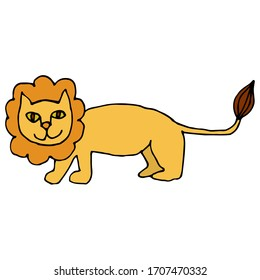 Cartoon doodle linear lion isolated on white background. Vector illustration.