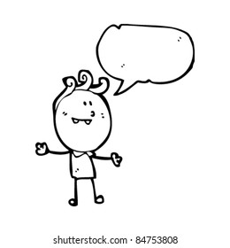 cartoon doodle man with open arms