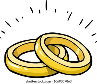 Cartoon doodle marriage rings on a white background vector illustration