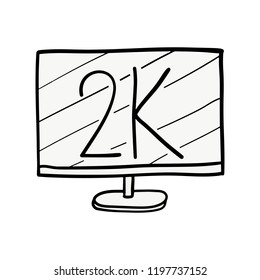Cartoon Doodle Monitor,2K Monitor,Hand drawn,Vector,Illustrations.