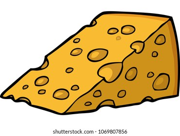 Cartoon doodle piece of cheese on a white background vector illustration
